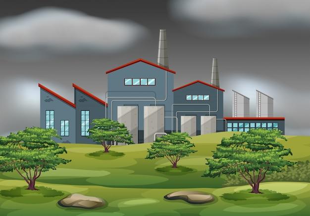 Cena de tempestade de edifício industrial Vetor Premium