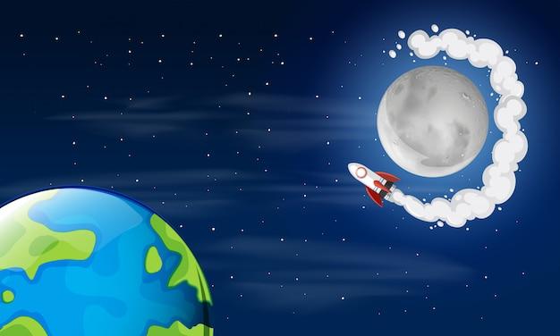 Cena do espaço da terra e da lua Vetor grátis