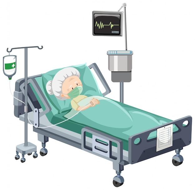 Cena do hospital com paciente doente na cama no fundo branco Vetor grátis
