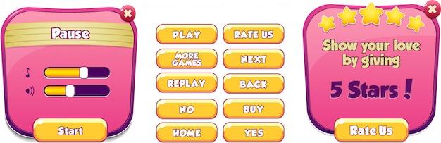 Cena do menu de pausa aparece com música e botões sonoros jogo menu completo ui Vetor Premium