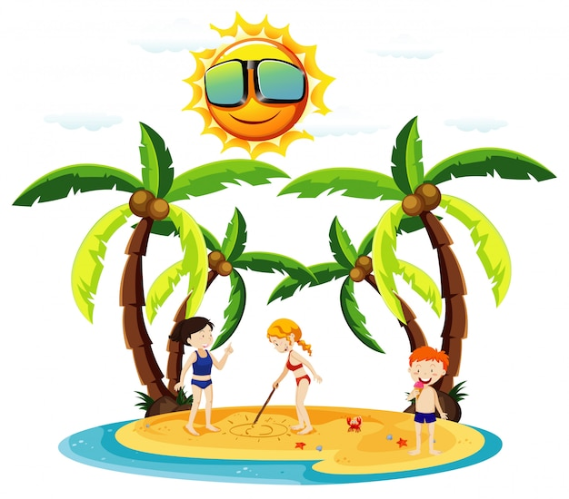 Cena do oceano com crianças brincando na praia Vetor grátis