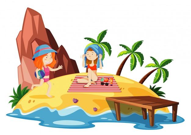 Cena do oceano com duas meninas na ilha Vetor grátis