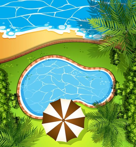 Cena do oceano e piscina Vetor grátis