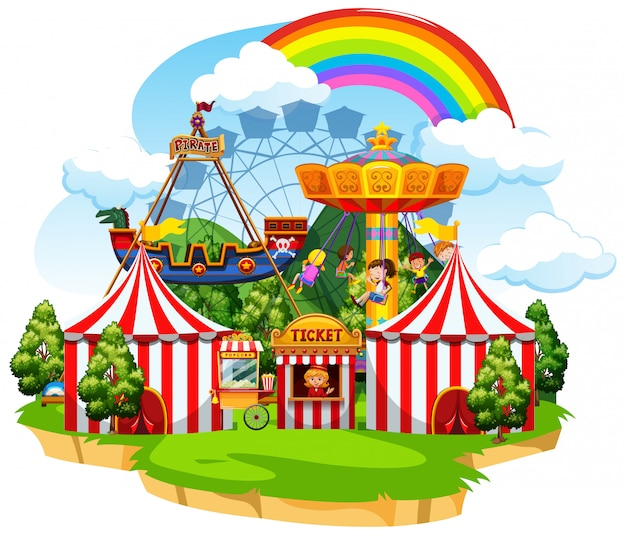 Cena do parque temático com muitos passeios e crianças felizes Vetor grátis