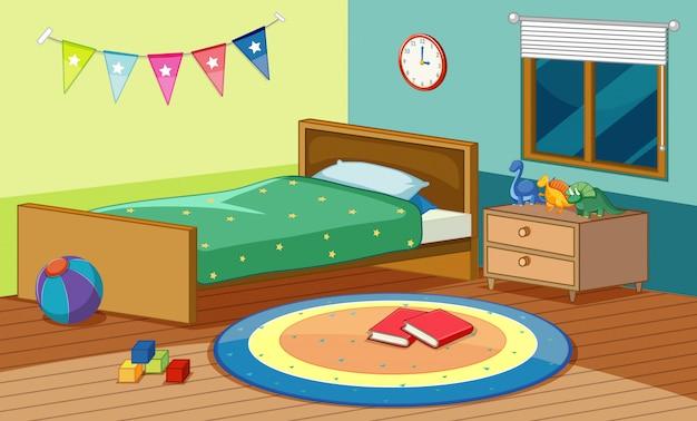Cena do quarto com cama e muitos brinquedos no quarto Vetor grátis