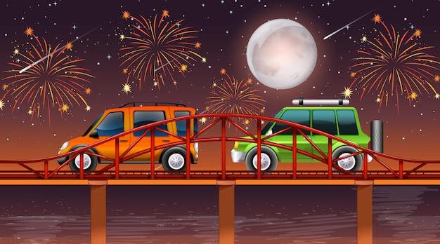 Cena do rio com fogos de artifício celebração Vetor grátis