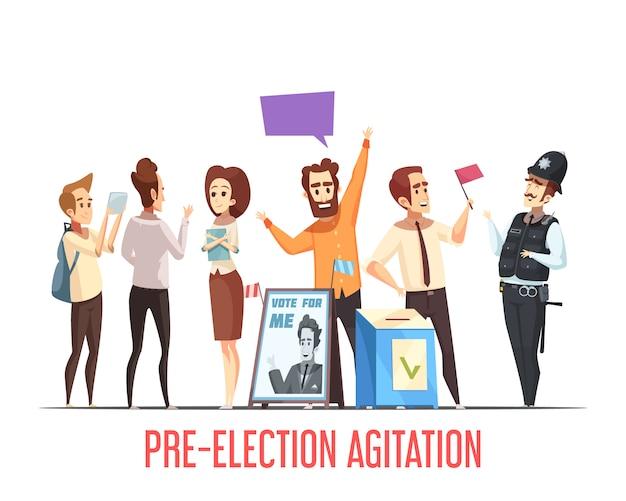 Cena dos desenhos animados da pré-eleição da política Vetor grátis