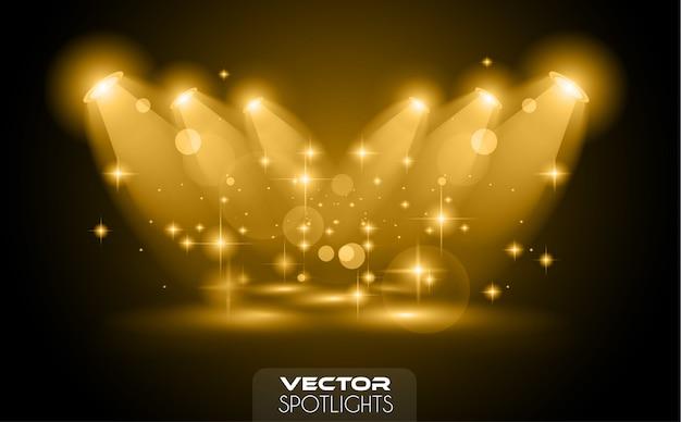 Cena dos projectores do vetor com fonte diferente de luzes que apontam ao assoalho ou à prateleira. Vetor Premium