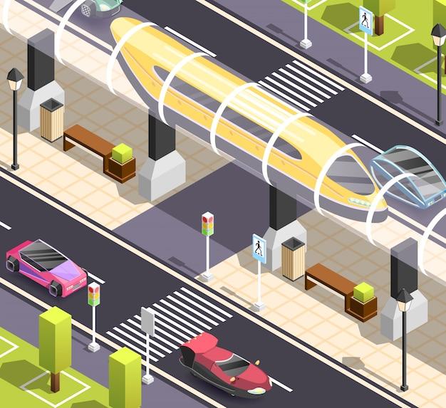 Cena isométrica de transporte futurista Vetor grátis