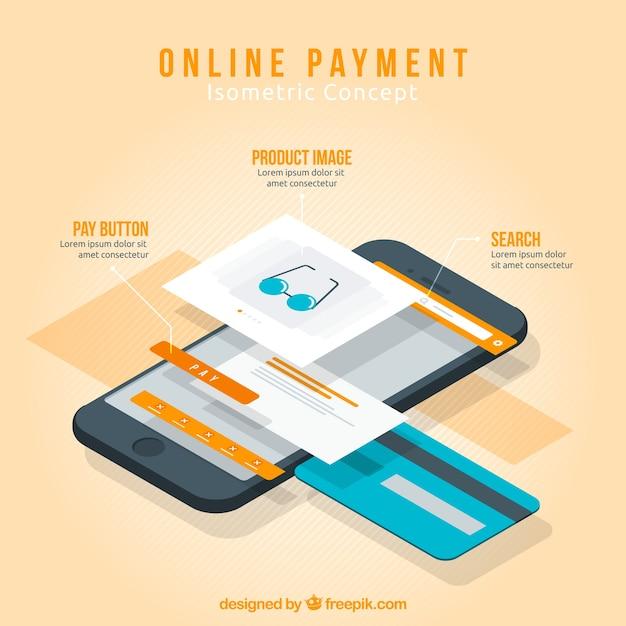 Cena isométrica sobre o pagamento on-line Vetor grátis