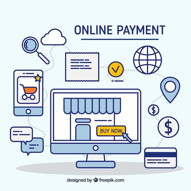 Cena linear sobre e-pagamento Vetor grátis