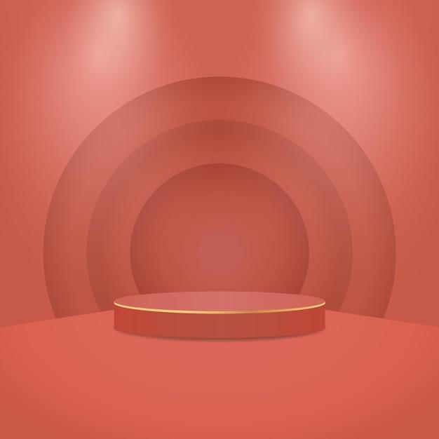 Cena mínima abstrata com formas geométricas. pódio do cilindro com luzes. apresentação do produto. pódio, pedestal de palco ou plataforma. Vetor Premium