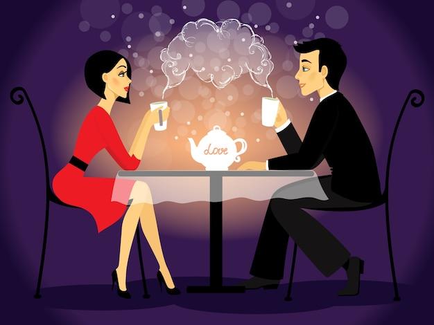 Cena namorada, confissão de amor Vetor grátis