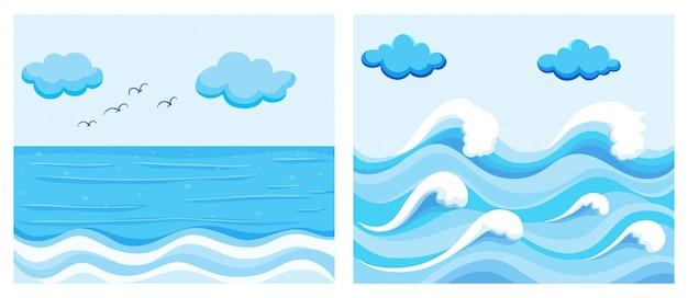 Cena oceânica com ondas Vetor grátis
