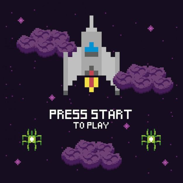 Cena pixelizada de espaço de videogame e mensagem de imprensa Vetor Premium