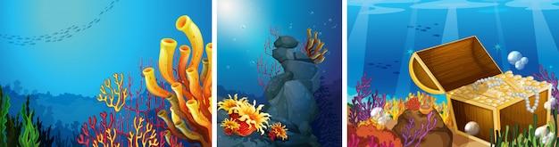 Cena, submarinas, com, recife coral, fundo Vetor grátis