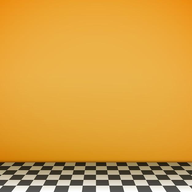 Cena vazia amarela com piso xadrez Vetor Premium
