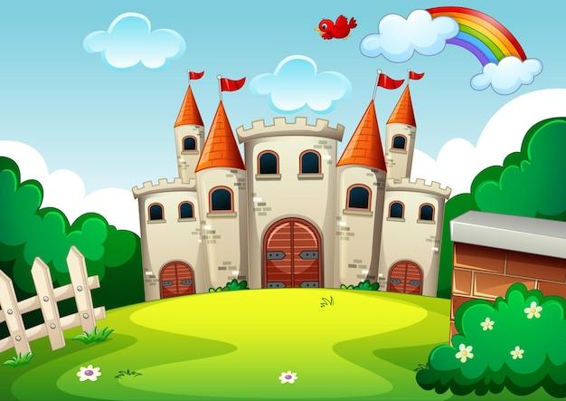 Cena vazia com castelo na natureza Vetor grátis