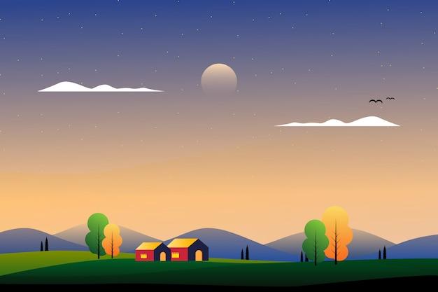 Cenário belo lado do país com ilustração de montanha e céu Vetor Premium