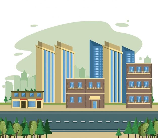 Cenário da opinião da arquitectura da cidade dos edifícios urbanos Vetor grátis