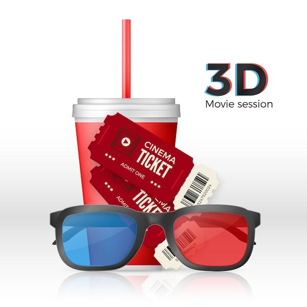 Cenário de cinema - ingressos para óculos 3d e um copo de bebida. Vetor Premium