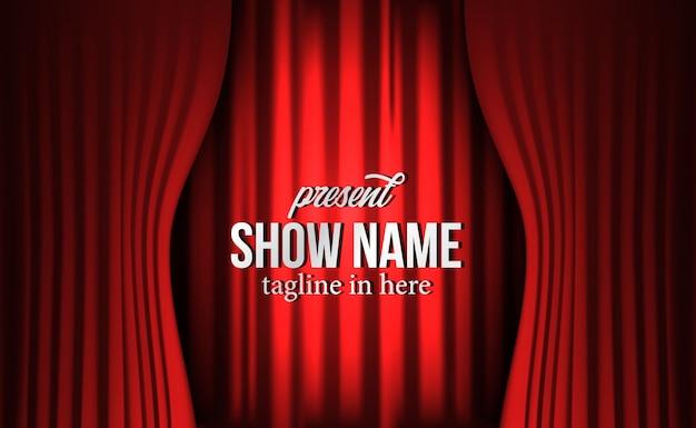 Cenário de cortina de seda vermelho luxo vermelho no show de teatro Vetor Premium