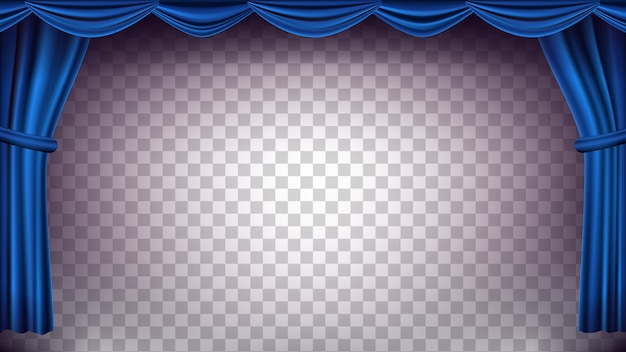 Cenário de cortina de teatro azul. fundo transparente para concerto, teatro. fase de seda vazia da ópera ou do cinema, cena azul. ilustração realista Vetor Premium