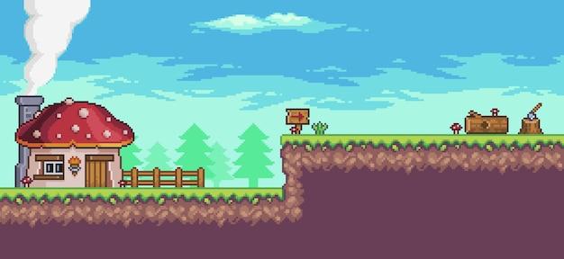 Cenário de jogo de arcade de pixel art com casa, árvores, cerca e nuvens. Vetor Premium