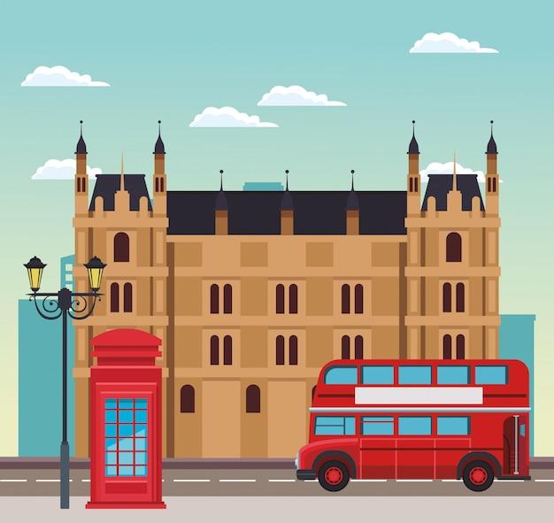 Cenário de londres com construção, caixa de telefone e ônibus sobre o céu Vetor Premium