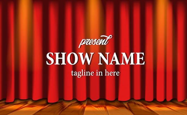 Cenário de palco vermelho realista cortina show no teatro com piso de madeira e relâmpagos Vetor Premium