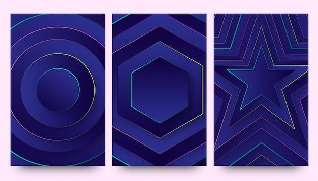 Cenário de papéis de parede de fundo gradiente neon azul elegante Vetor Premium