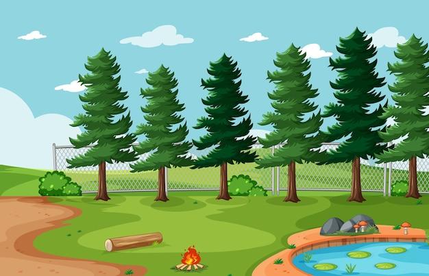 Cenário de parque natural de fundo vazio Vetor grátis