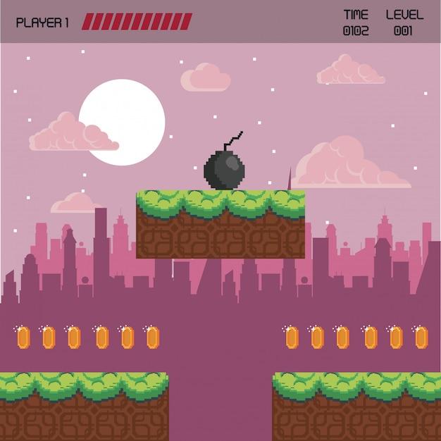 Cenário de videogame urbano pixelizado Vetor Premium