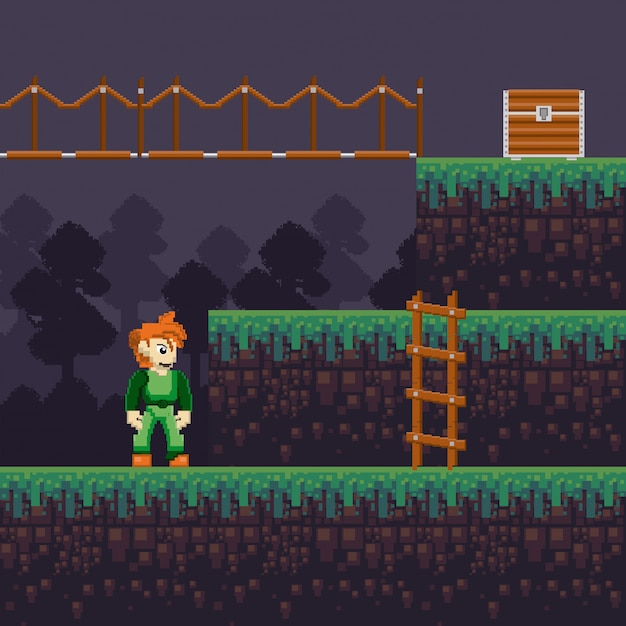 Cenário pixelado de videogame retrô Vetor Premium