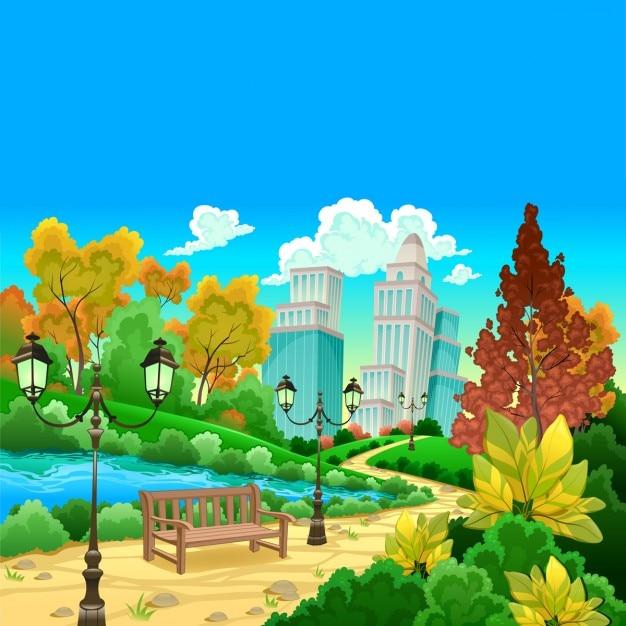 Cenário urbano em uma ilustração do vetor dos desenhos animados jardim natural Vetor grátis