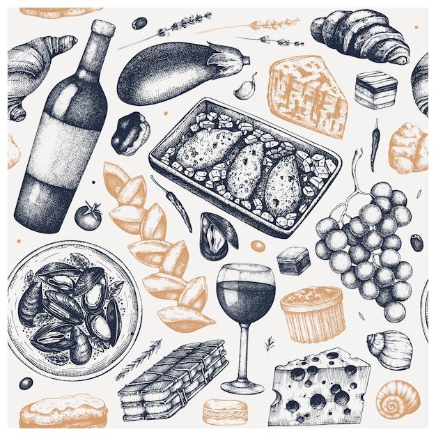 Cenário vintage de comida francesa. desenho de vinhos, lanches, pratos de carne e esboços de sobremesas. fundo do menu do restaurante de estilo retro Vetor Premium