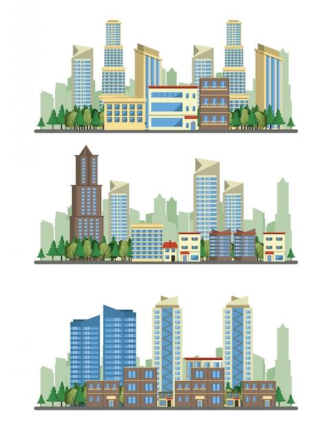 Cenários de visão de paisagem urbana de edifícios urbanos Vetor grátis