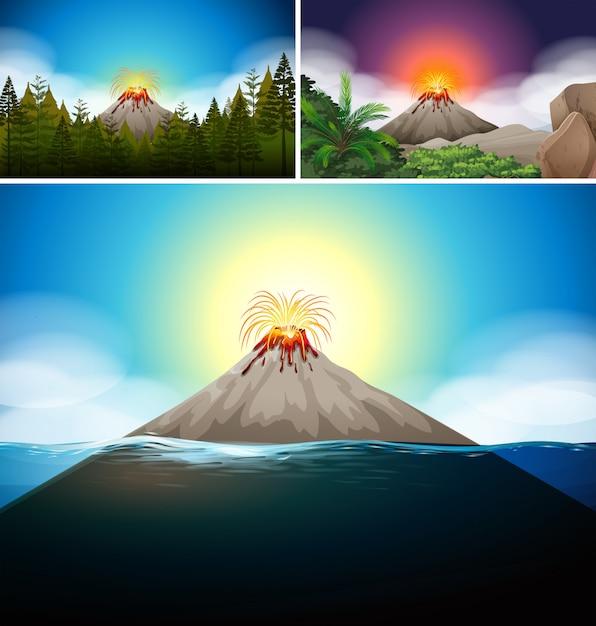Cenas com vulcão na floresta e oceano Vetor grátis