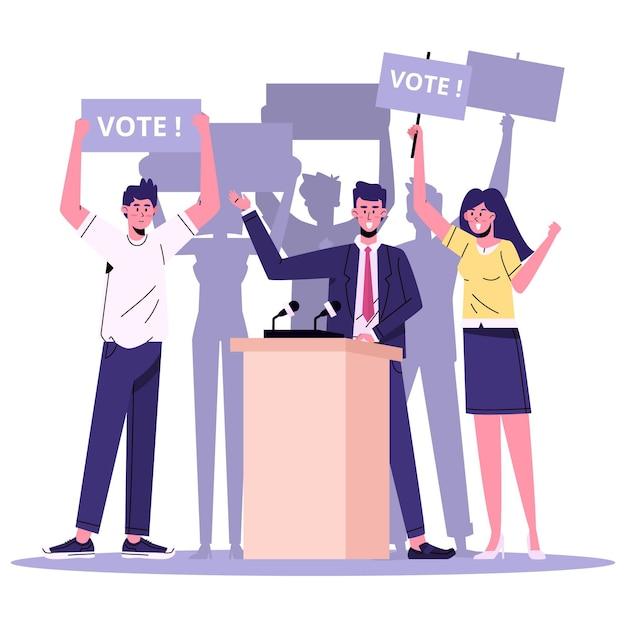 Cenas de campanha eleitoral Vetor grátis