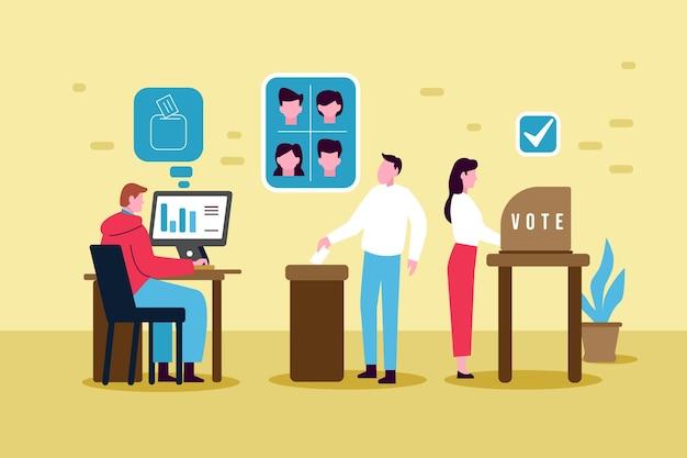 Cenas de campanha eleitoral Vetor Premium