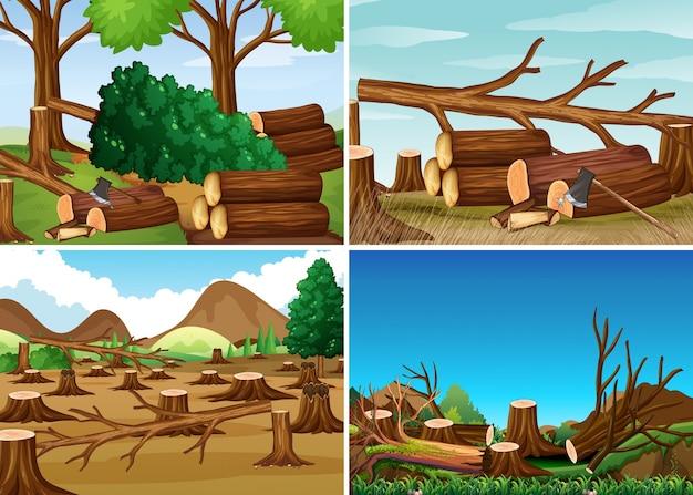Cenas de desmatamento com madeiras picadas Vetor grátis