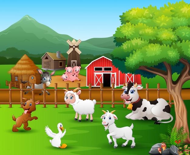 Cenas de fazenda com diferentes animais no pátio Vetor Premium