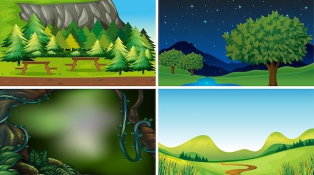 Cenas de natureza paisagem vazia ou em branco ou fundo Vetor grátis