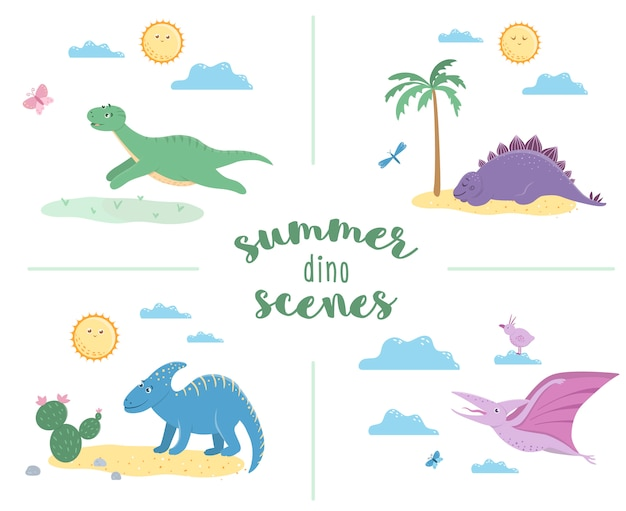 Cenas de verão com dinossauros fofos. ilustração com dinos tocando, dormindo, tomando banho de sol, correndo. ilustração de répteis pré-históricos engraçados para crianças Vetor Premium