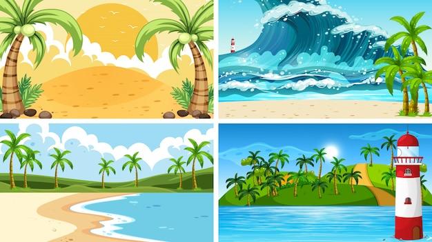 Cenas tropicais da natureza do oceano com praias Vetor grátis