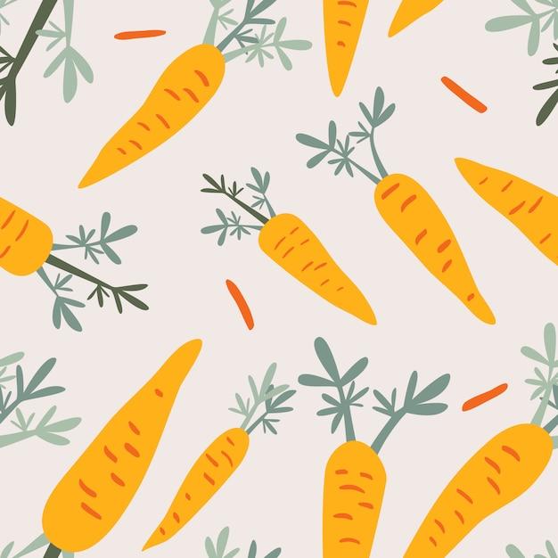 Cenouras doodle padrão sem emenda Vetor Premium