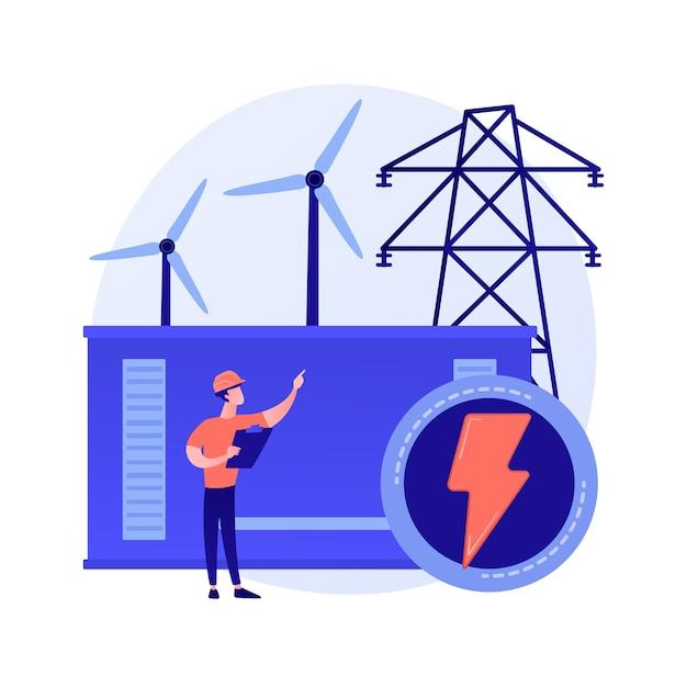 Central elétrica, geração de energia elétrica, produção de eletricidade. personagem de desenho animado de engenheiro de energia. indústria de energia, usina elétrica Vetor grátis