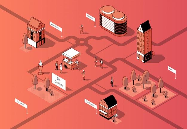 Centro da cidade isométrico 3d. mapa urbano Vetor grátis