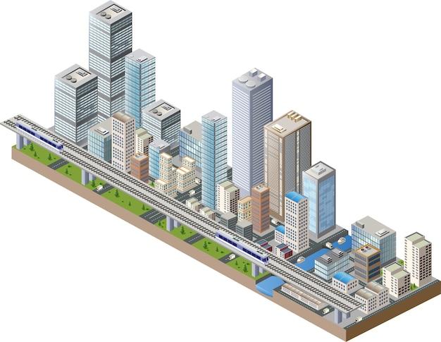 Centro da cidade Vetor Premium