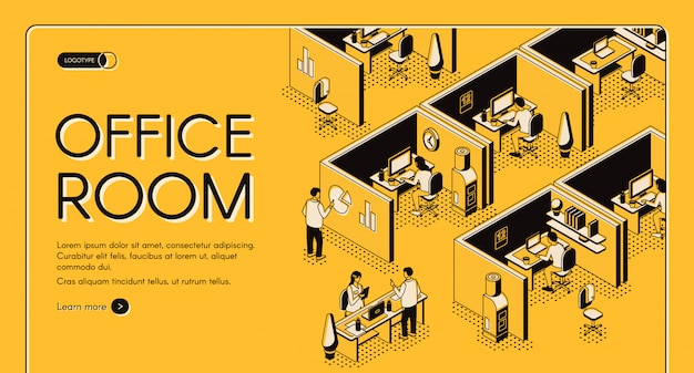 Centro de coworking moderno com banner de web de projeção isométrica de locais de trabalho individuais. Vetor grátis